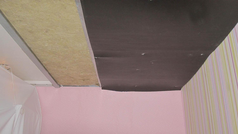 Шумоизоляция натяжного потолка в Томске. Услуги по шумоизоляции потолков недорого. Отделка потолка акустическими минплитами, улучшение звукоизоляции.
