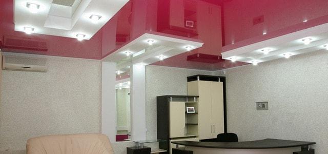 Натяжные потолки в офисе фото, компания Ремонтофф. Натяжные потолки в Анапе под ключ.